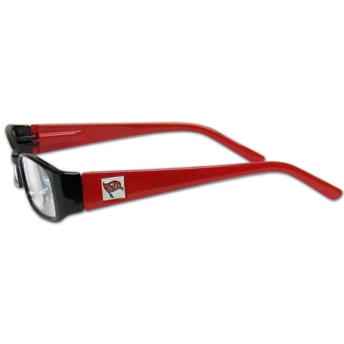Tampa Bay Buccaneers Reading Glasses +1.25 - Our Tampa Bay Buccaneers reading glasses are 5.25 inches wide and feature the team logo on each arm. Magnification Power 1.25