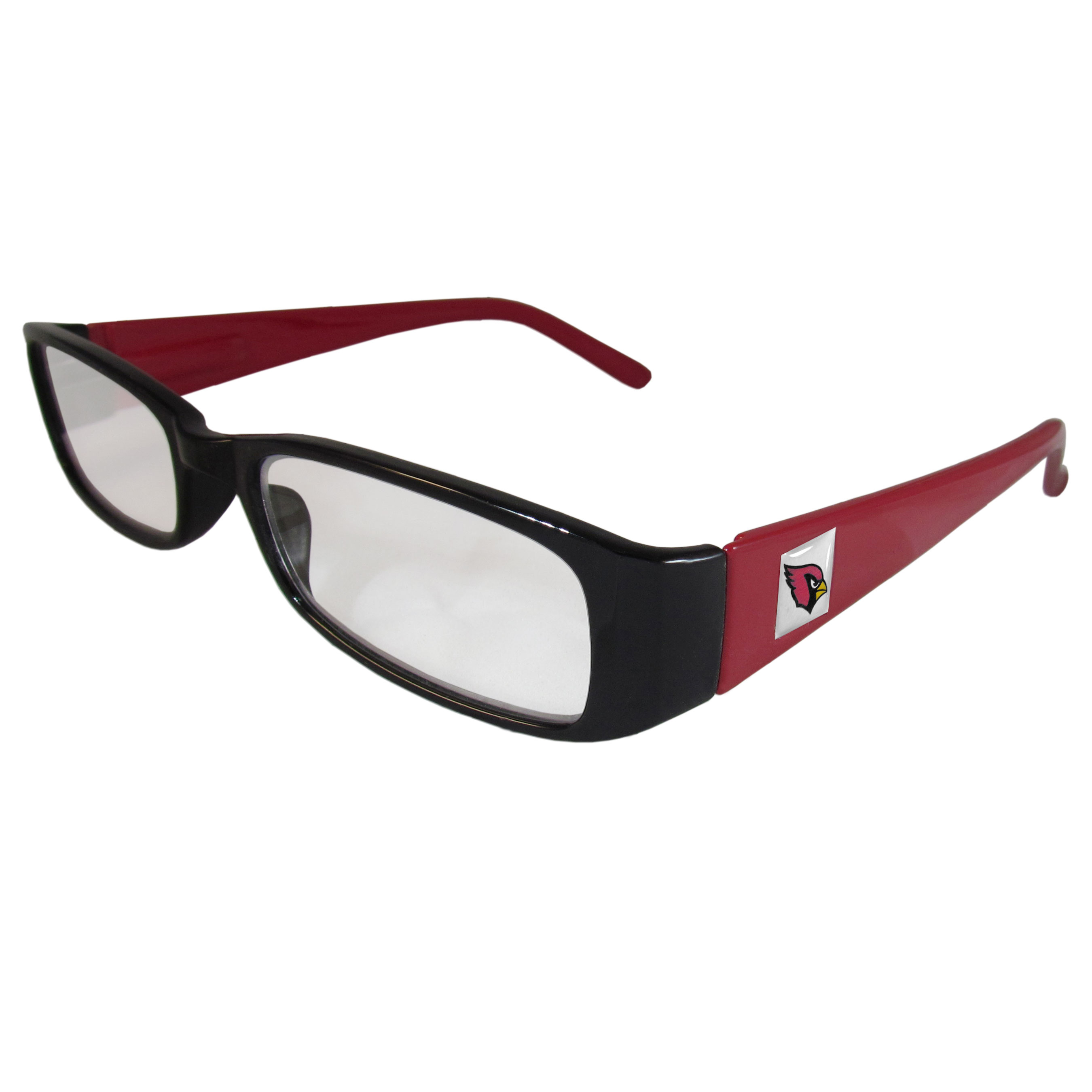 Arizona Cardinals Reading Glasses +1.25 - Our Arizona Cardinals reading glasses are 5.25 inches wide and feature the team logo on each arm. Magnification Power 1.25