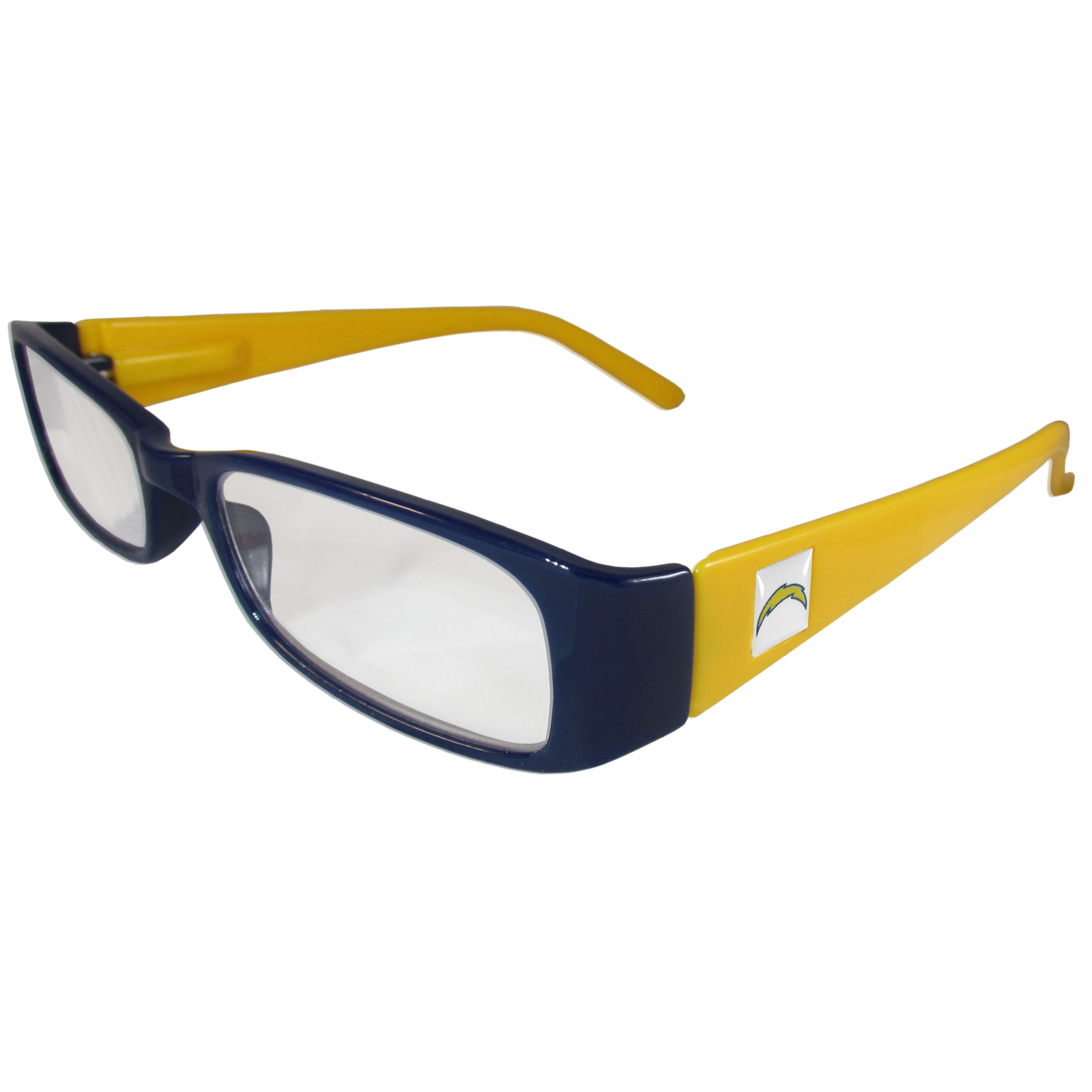 Los Angeles Chargers Reading Glasses +2.00 - Our Los Angeles Chargers reading glasses are 5.25 inches wide and feature the team logo on each arm. Magnification Power 2.00