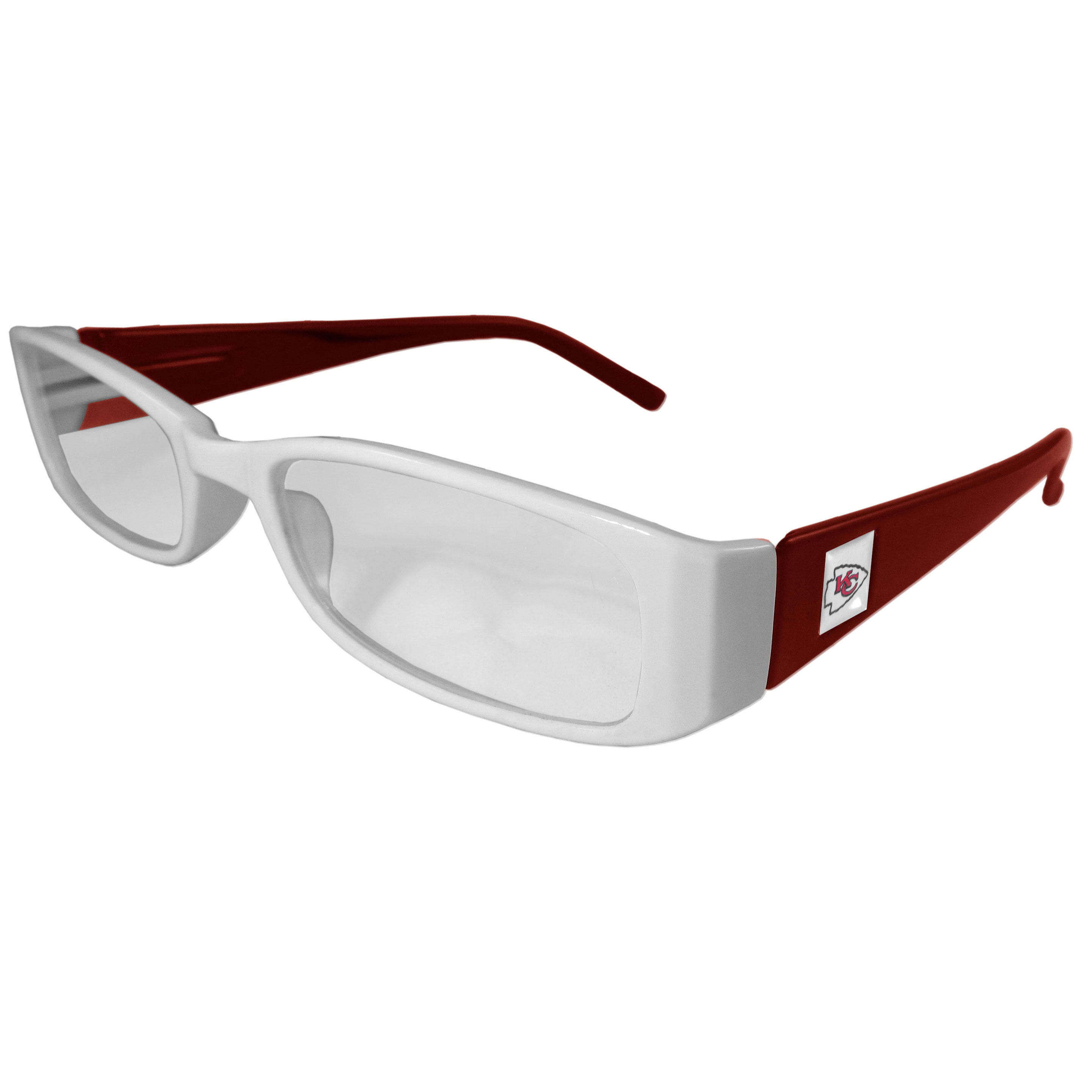 Kansas City Chiefs Reading Glasses +1.25 - Our Kansas City Chiefs reading glasses are 5.25 inches wide and feature the team logo on each arm. Magnification Power 1.25