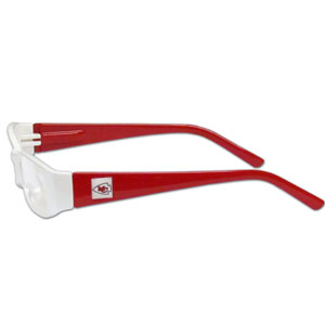"Kansas City Chiefs NFL Reading Glasses  - These Kansas City Chiefs NFL reading glasses are 5.25"" wide with 5.5"" arms with Kansas City Chiefs colored frames featuring the Kansas City Chiefs logo on each arm. Officially licensed NFL product Licensee: Siskiyou Buckle Thank you for visiting CrazedOutSports.com"