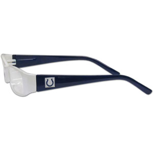 "Indianapolis Colts NFL Reading Glasses  - These Indianapolis Colts NFL reading glasses are 5.25"" wide with 5.5"" arms with Indianapolis Colts colored frames featuring the Indianapolis Colts logo on each arm. Officially licensed NFL product Licensee: Siskiyou Buckle Thank you for visiting CrazedOutSports.com"