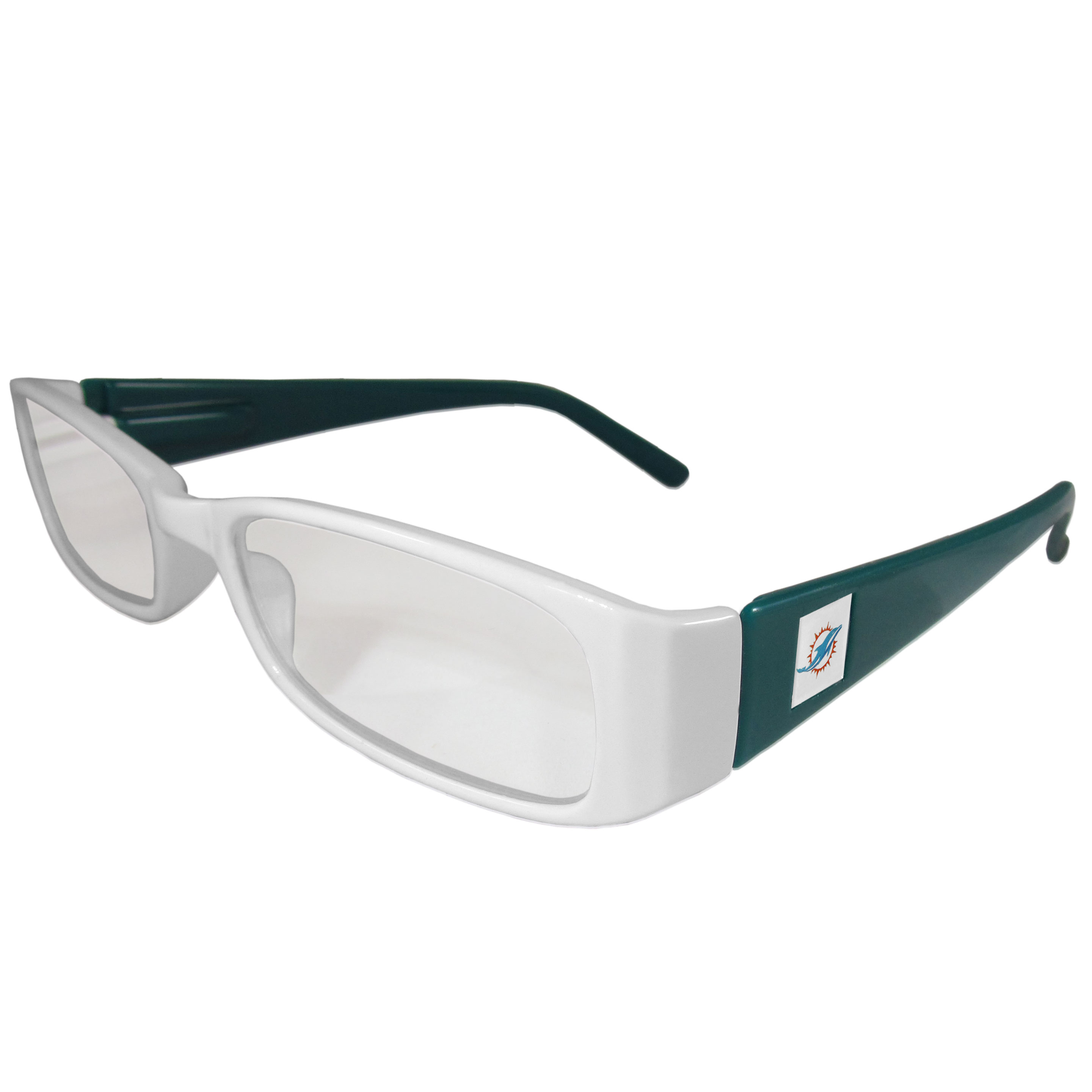 Miami Dolphins Reading Glasses +1.50 - Our Miami Dolphins reading glasses are 5.25 inches wide and feature the team logo on each arm. Magnification Power 1.50