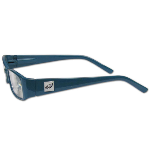 Philadelphia Eagles Reading Glasses +1.25 - Our Philadelphia Eagles reading glasses are 5.25 inches wide and feature the team logo on each arm. Magnification Power 1.25