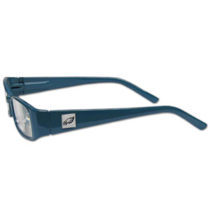 "Philadelphia Eagles NFL Reading Glasses  - These Philadelphia Eagles NFL reading glasses are 5.25"" wide with 5.5"" arms with Philadelphia Eagles colored frames featuring the Philadelphia Eagles logo on each arm. Officially licensed NFL product Licensee: Siskiyou Buckle .com"