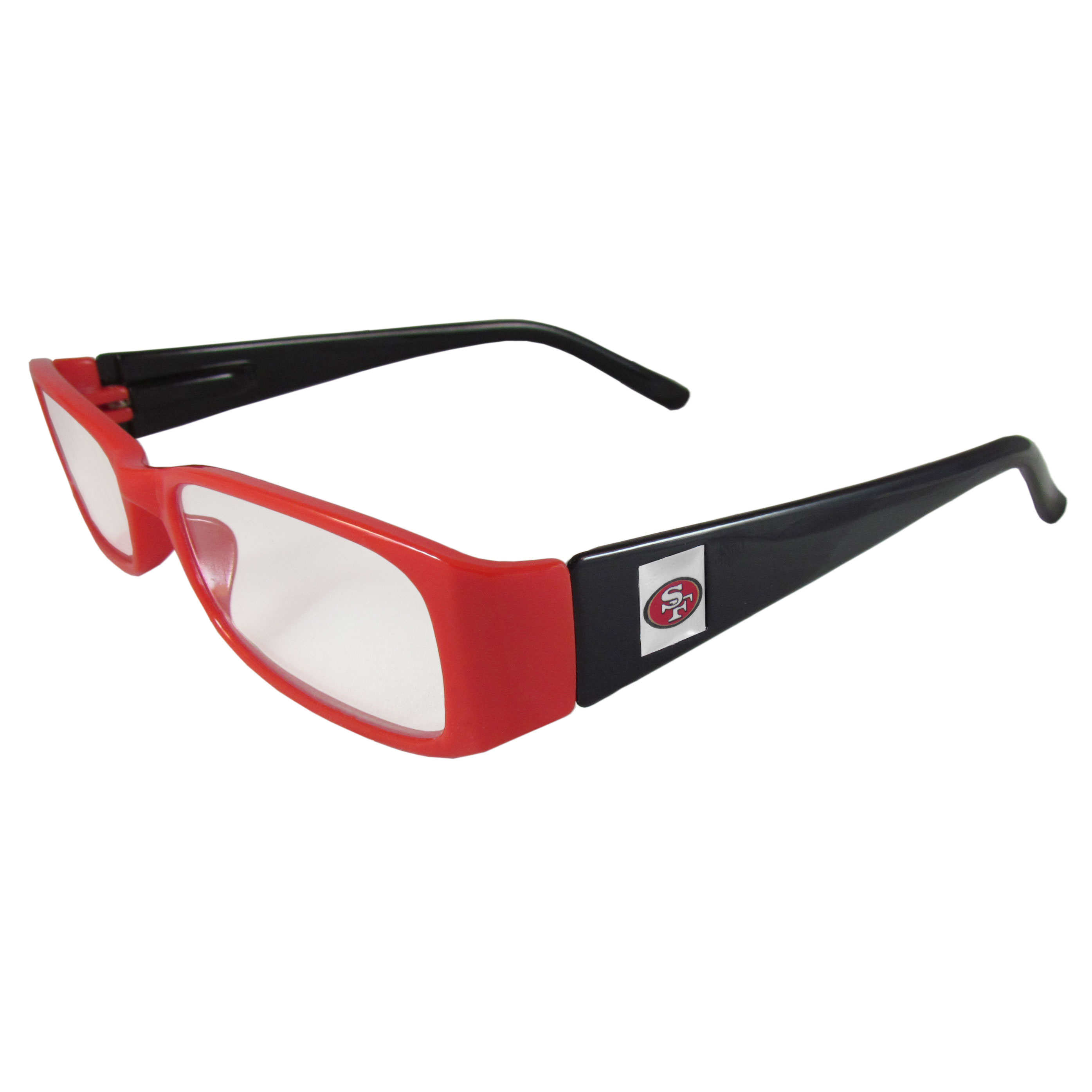 San Francisco 49ers Reading Glasses +1.25 - Our San Francisco 49ers reading glasses are 5.25 inches wide and feature the team logo on each arm. Magnification Power 1.25