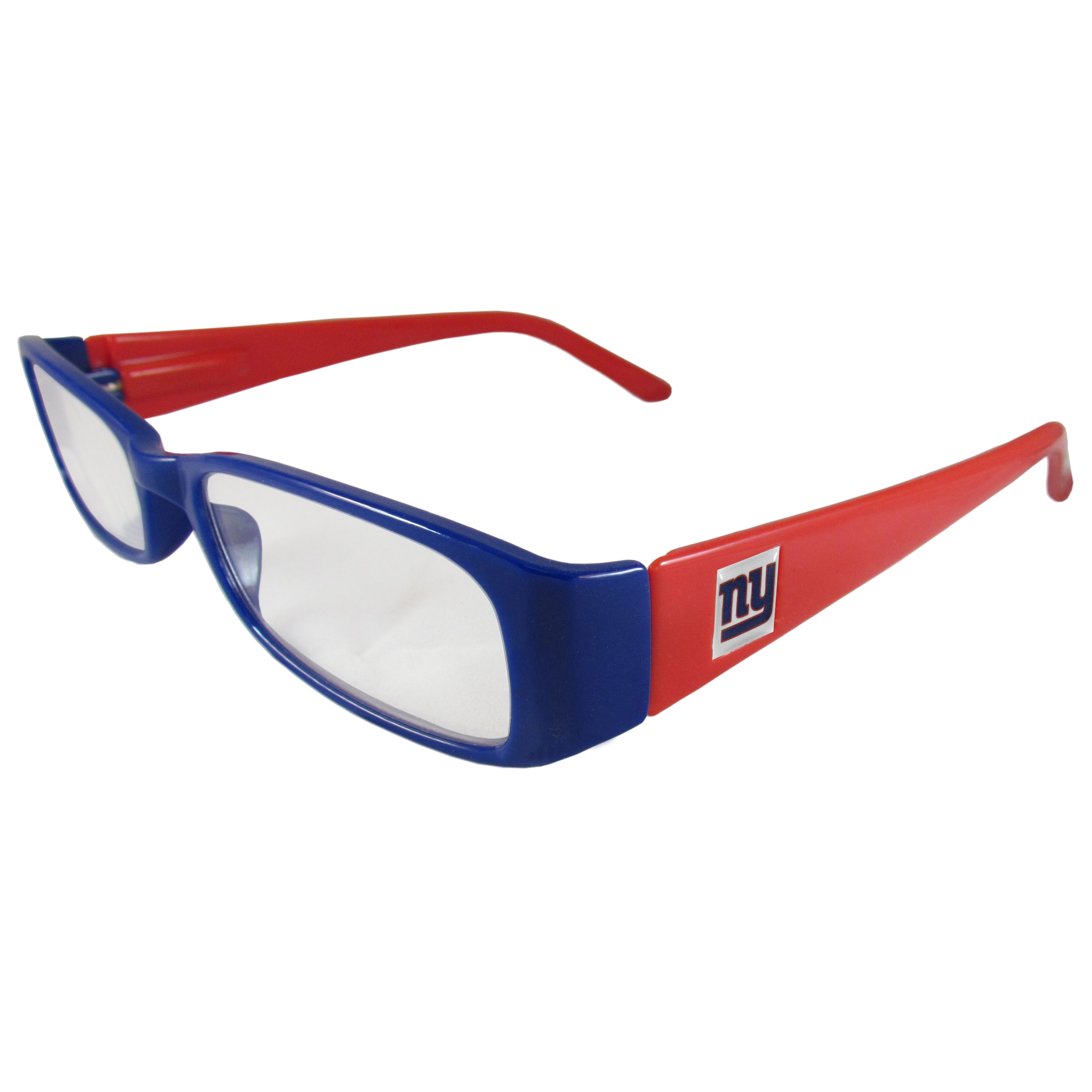 New York Giants Reading Glasses +1.25 - Our New York Giants reading glasses are 5.25 inches wide and feature the team logo on each arm. Magnification Power 1.25