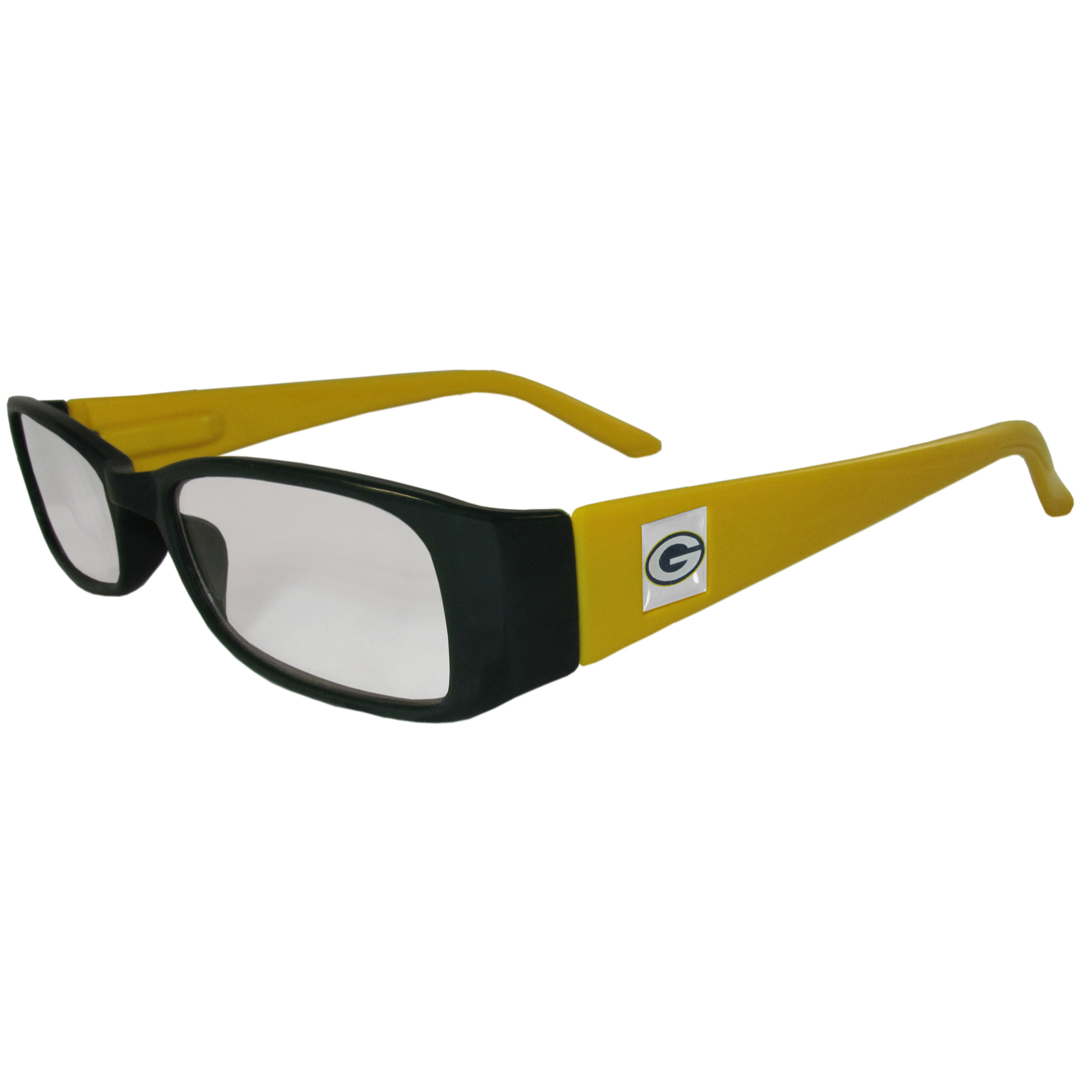 Green Bay Packers Reading Glasses +1.25 - Our Green Bay Packers reading glasses are 5.25 inches wide and feature the team logo on each arm. Magnification Power 1.25
