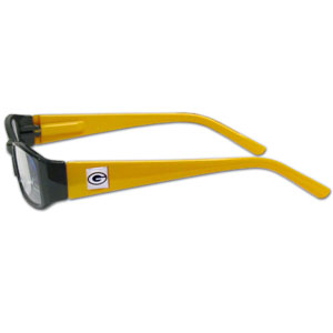 "Green Bay Packers NFL Reading Glasses - These Green Bay Packers NFL reading glasses are 5.25"" wide with 5.5"" arms with Green Bay Packers colored frames featuring the Green Bay Packers logo on each arm. Officially licensed NFL product Licensee: Siskiyou Buckle .com"