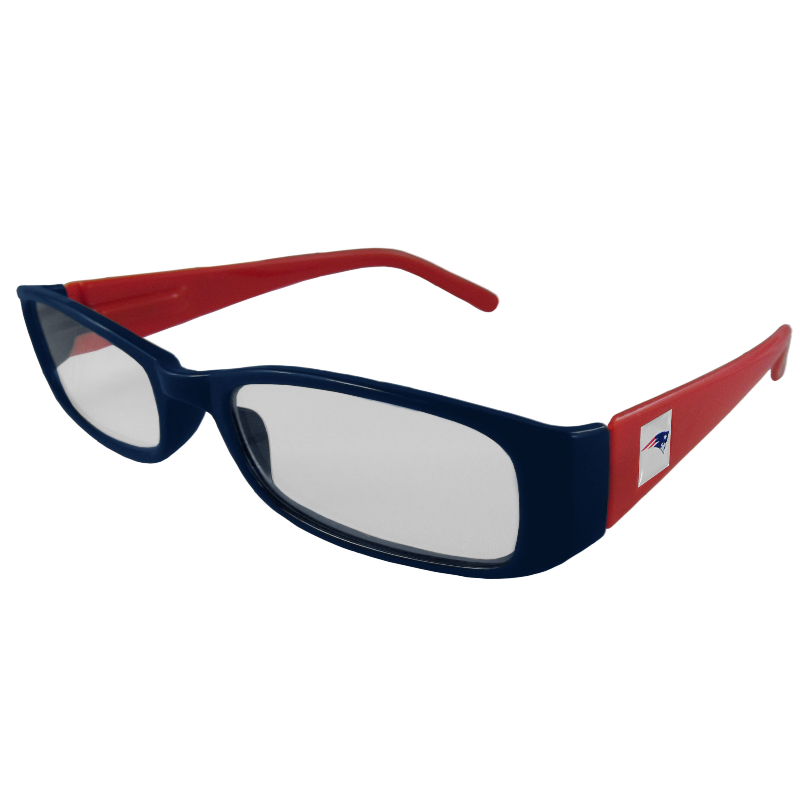 New England Patriots Reading Glasses +1.25 - Our New England Patriots reading glasses are 5.25 inches wide and feature the team logo on each arm. Magnification Power 1.25