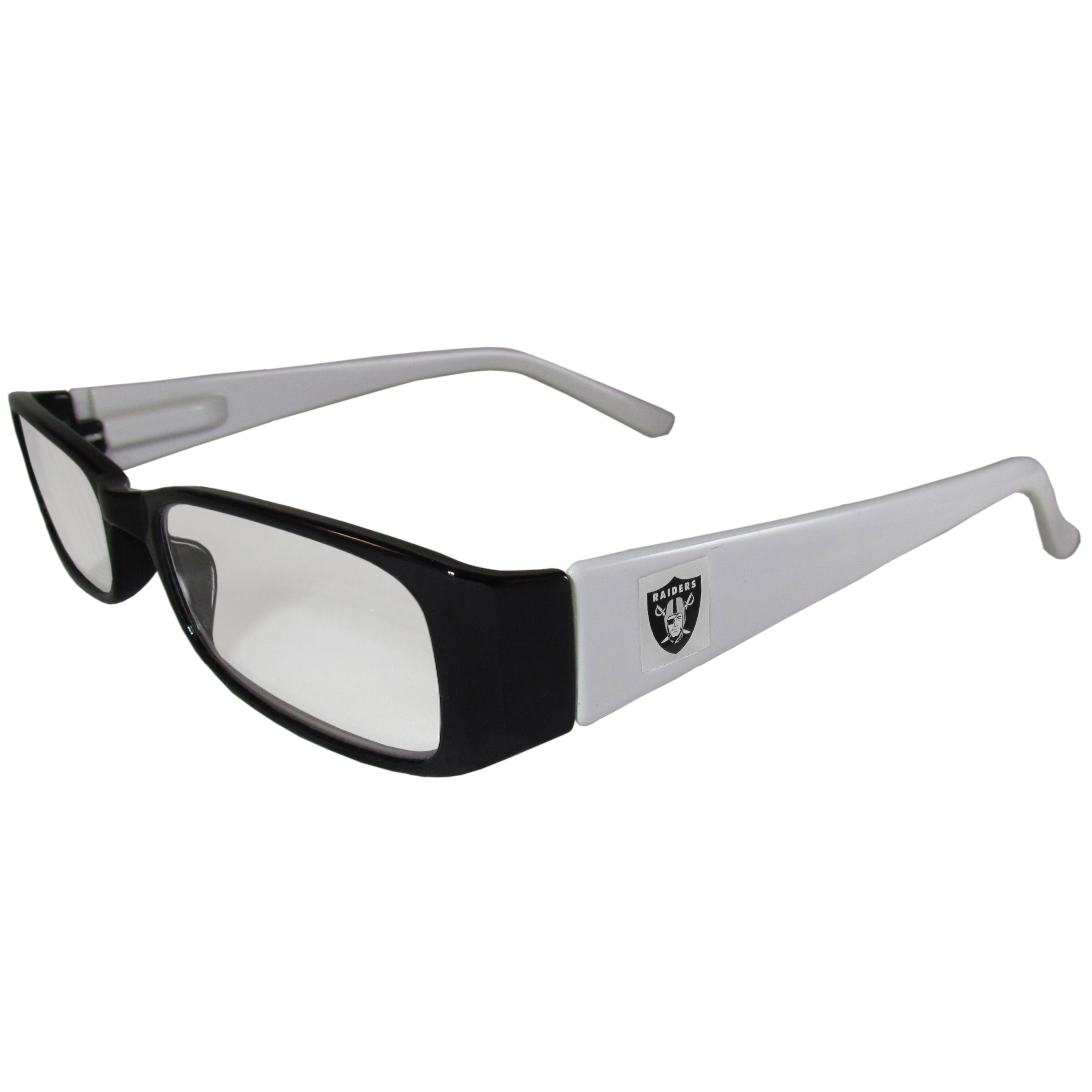 Oakland Raiders Reading Glasses +1.25 - Our Oakland Raiders reading glasses are 5.25 inches wide and feature the team logo on each arm. Magnification Power 1.25