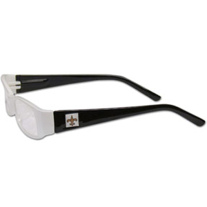 "New Orleans Saints NFL Reading Glasses - These New Orleans Saints NFL reading glasses are 5.25"" wide with 5.5"" arms with New Orleans Saints colored frames featuring the New Orleans Saints logo on each arm. Officially licensed NFL product Licensee: Siskiyou Buckle .com"