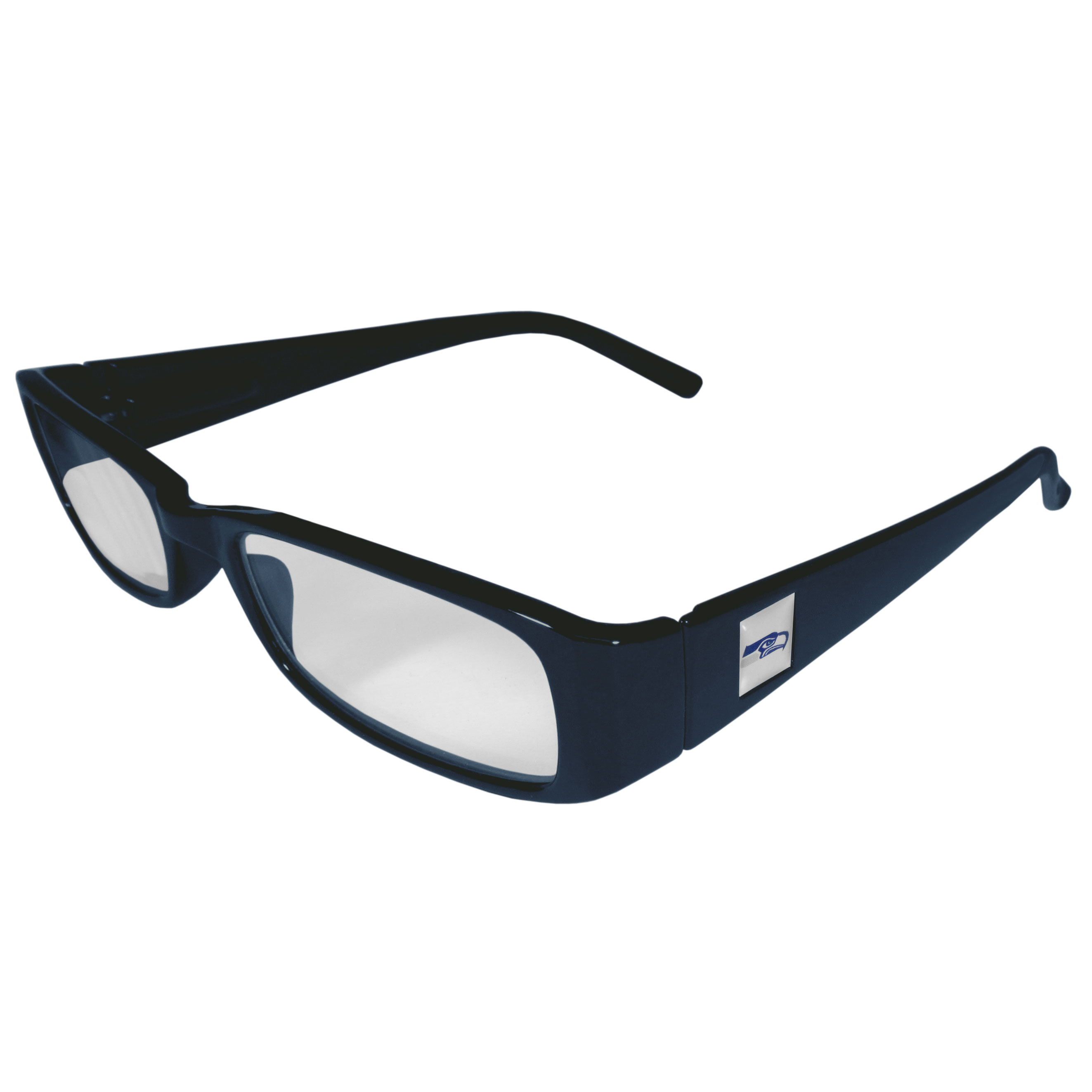 "Seahawks NFL Reading Glasses +1.25 - ""Our Seattle Seahawks NFL readers glasses are 5.25"""" wide with 5.5"""" arms with team colored frames featuring the team logo on each arm. Power +1.25"""