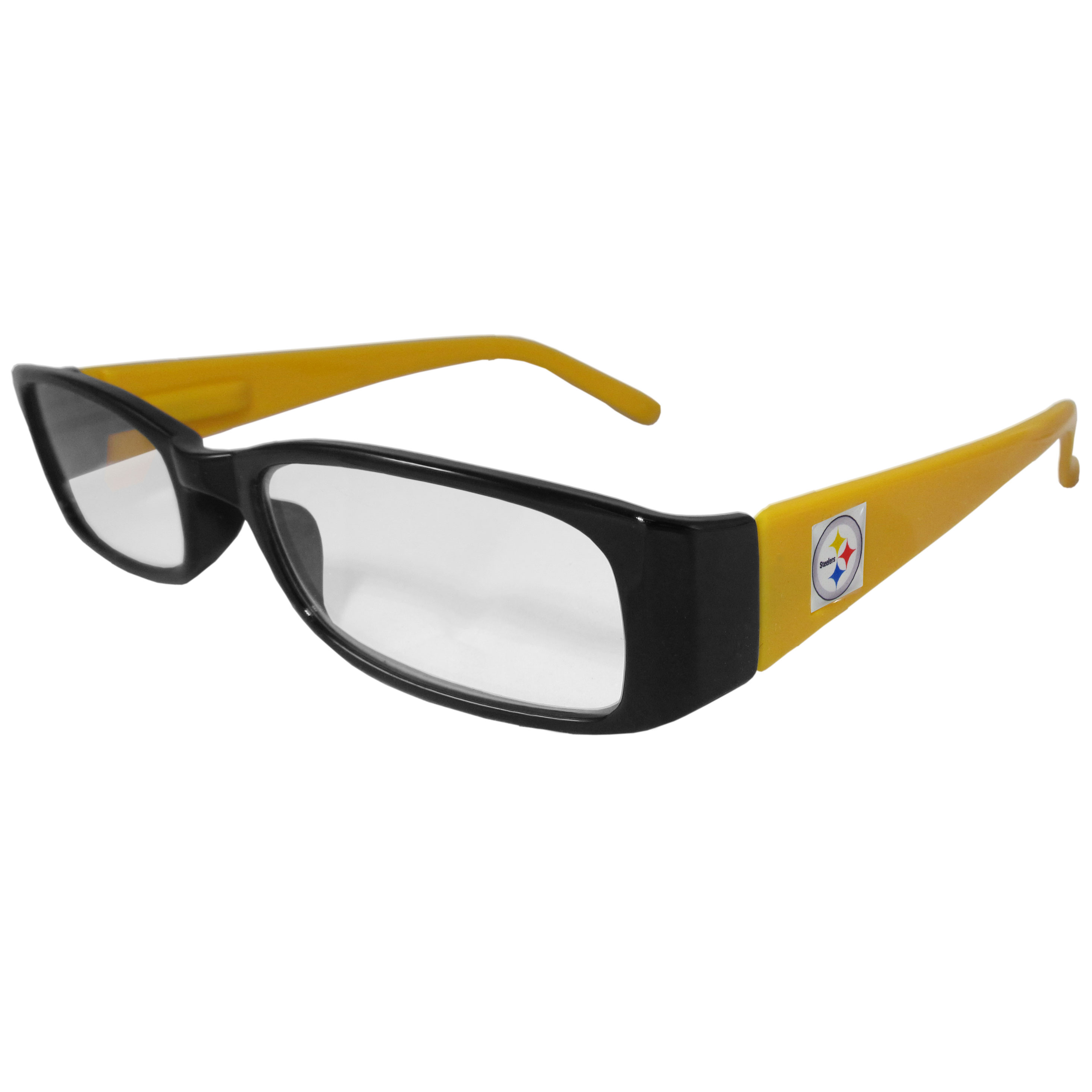 Pittsburgh Steelers Reading Glasses +1.25 - Our Pittsburgh Steelers reading glasses are 5.25 inches wide and feature the team logo on each arm. Magnification Power 1.25