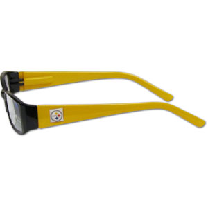 "Pittsburgh Steelers NFL Reading Glasses - These Pittsburgh Steelers NFL reading glasses are 5.25"" wide with 5.5"" arms with Pittsburgh Steelers colored frames featuring the Pittsburgh Steelers logo on each arm. Officially licensed NFL product Licensee: Siskiyou Buckle .com"