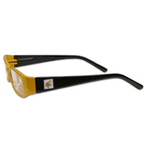 """Minnesota Vikings NFL Reading Glasses - These Minnesota Vikings NFL reading glasses are 5.25"""" wide with 5.5"""" arms with Minnesota Vikings colored frames featuring the Minnesota Vikings logo on each arm. Officially licensed NFL product Licensee: Siskiyou Buckle Thank you for visiting CrazedOutSports.com"""