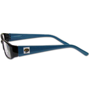 "Jacksonville Jaguars NFL Reading Glasses - These Jacksonville Jaguars NFL reading glasses are 5.25"" wide with 5.5"" arms with Jacksonville Jaguars colored frames featuring the Jacksonville Jaguars logo on each arm. Officially licensed NFL product Licensee: Siskiyou Buckle Thank you for visiting CrazedOutSports.com"