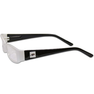 "Baltimore Ravens NFL Reading Glasses - These Baltimore Ravens NFL reading glasses are 5.25"" wide with 5.5"" arms with Baltimore Ravens colored frames featuring the Baltimore Ravens logo on each arm. Officially licensed NFL product Licensee: Siskiyou Buckle .com"