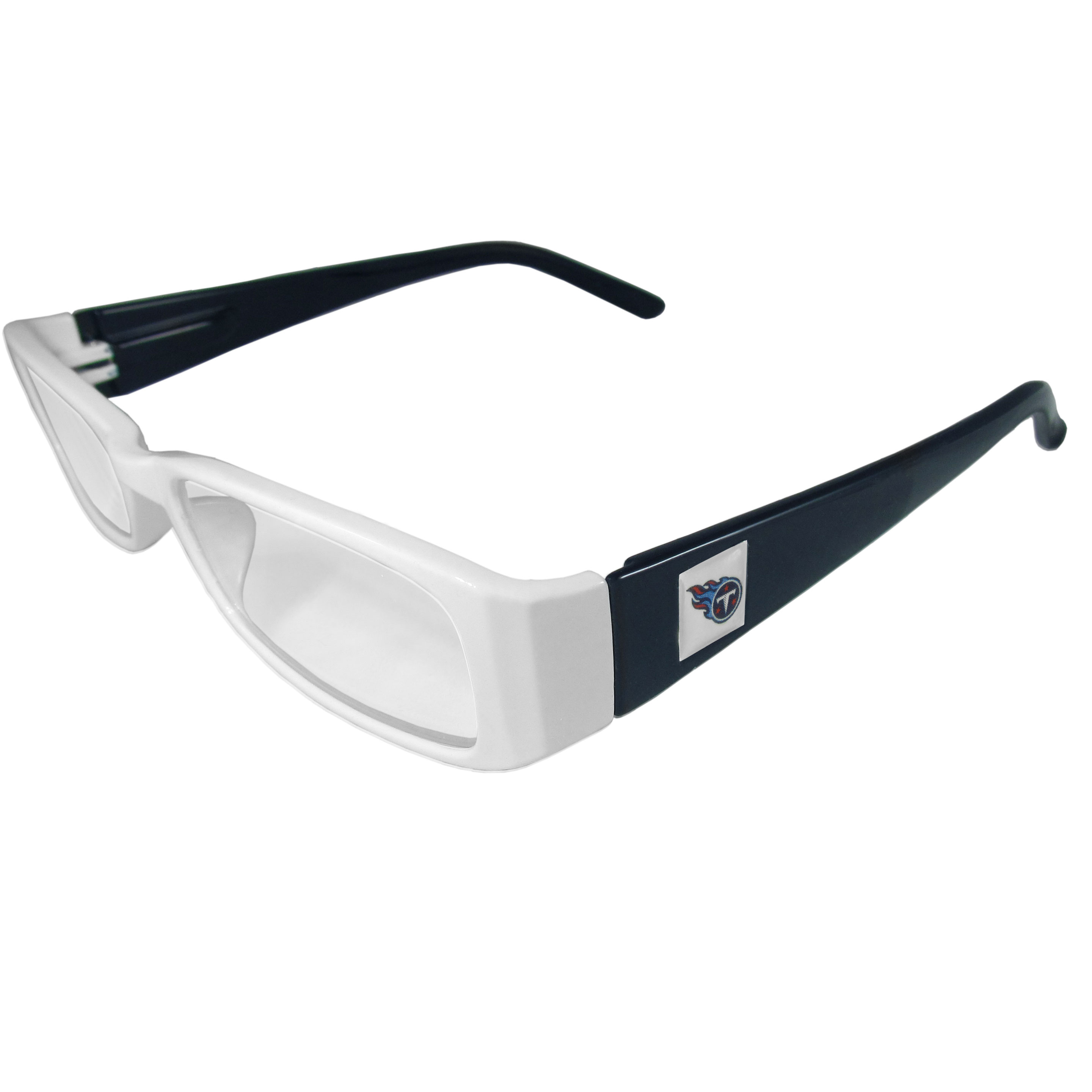 Tennessee Titans Reading Glasses +1.25 - Our Tennessee Titans reading glasses are 5.25 inches wide and feature the team logo on each arm. Magnification Power 1.25
