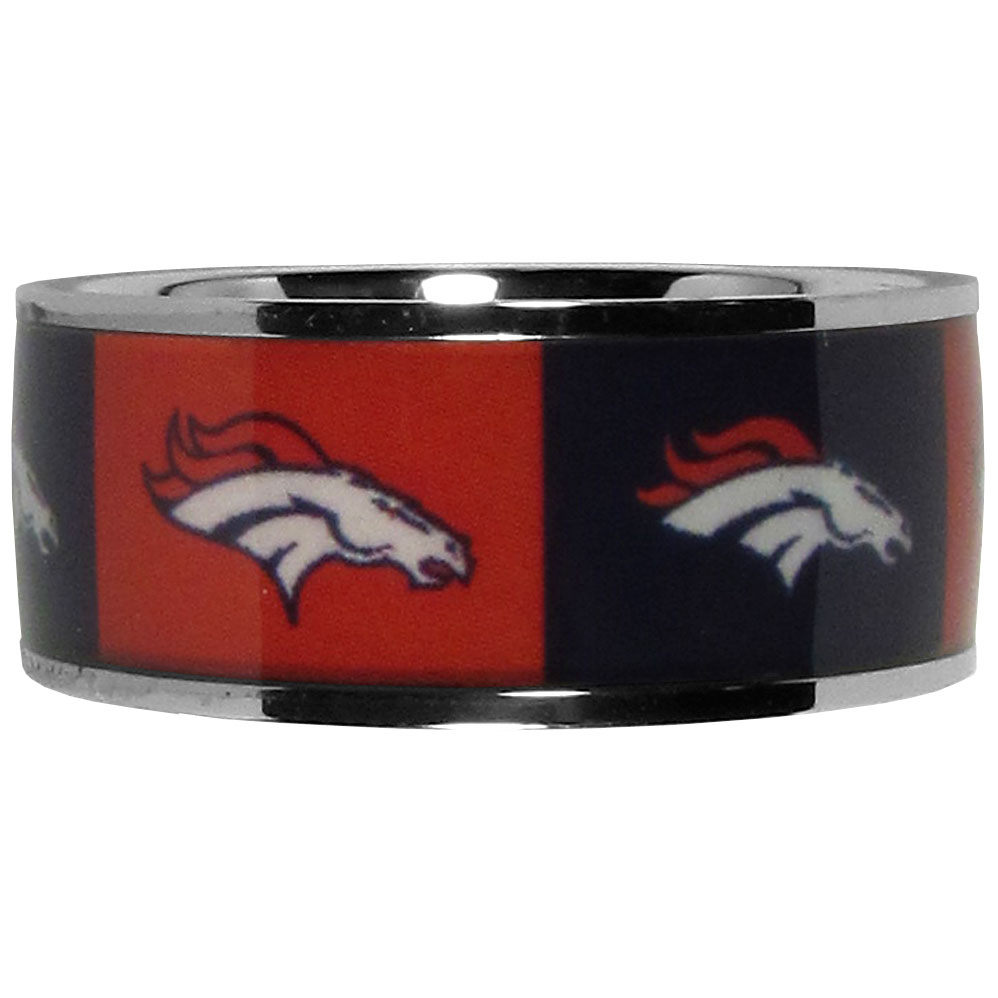 Denver Broncos Steel Inlaid Ring Size 10 - Our high-quality Denver Broncos stainless steel ring is a classy way to show off your team pride. The ring features crisp, inlaid team graphics.