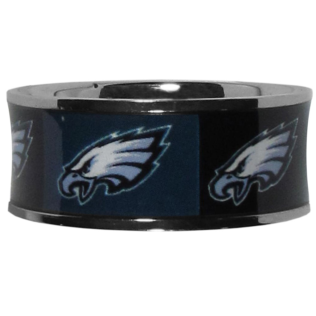 Philadelphia Eagles Steel Inlaid Ring Size 12 - Our high-quality Philadelphia Eagles stainless steel ring is a classy way to show off your team pride. The ring features crisp, inlaid team graphics.