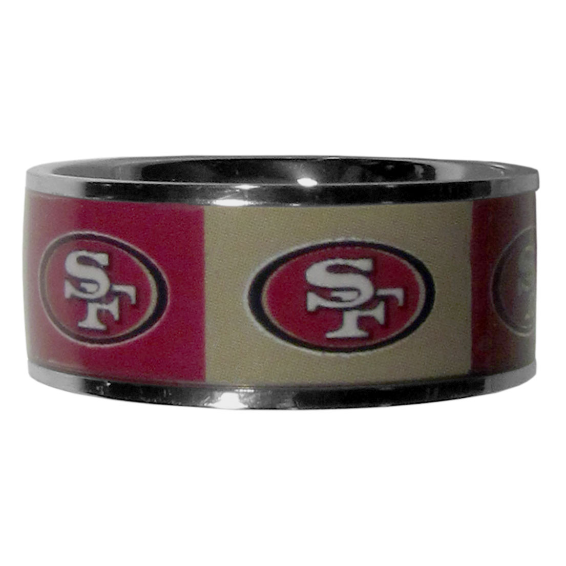 San Francisco 49ers Steel Inlaid Ring Size 10 - Our high-quality San Francisco 49ers stainless steel ring is a classy way to show off your team pride. The ring features crisp, inlaid team graphics.