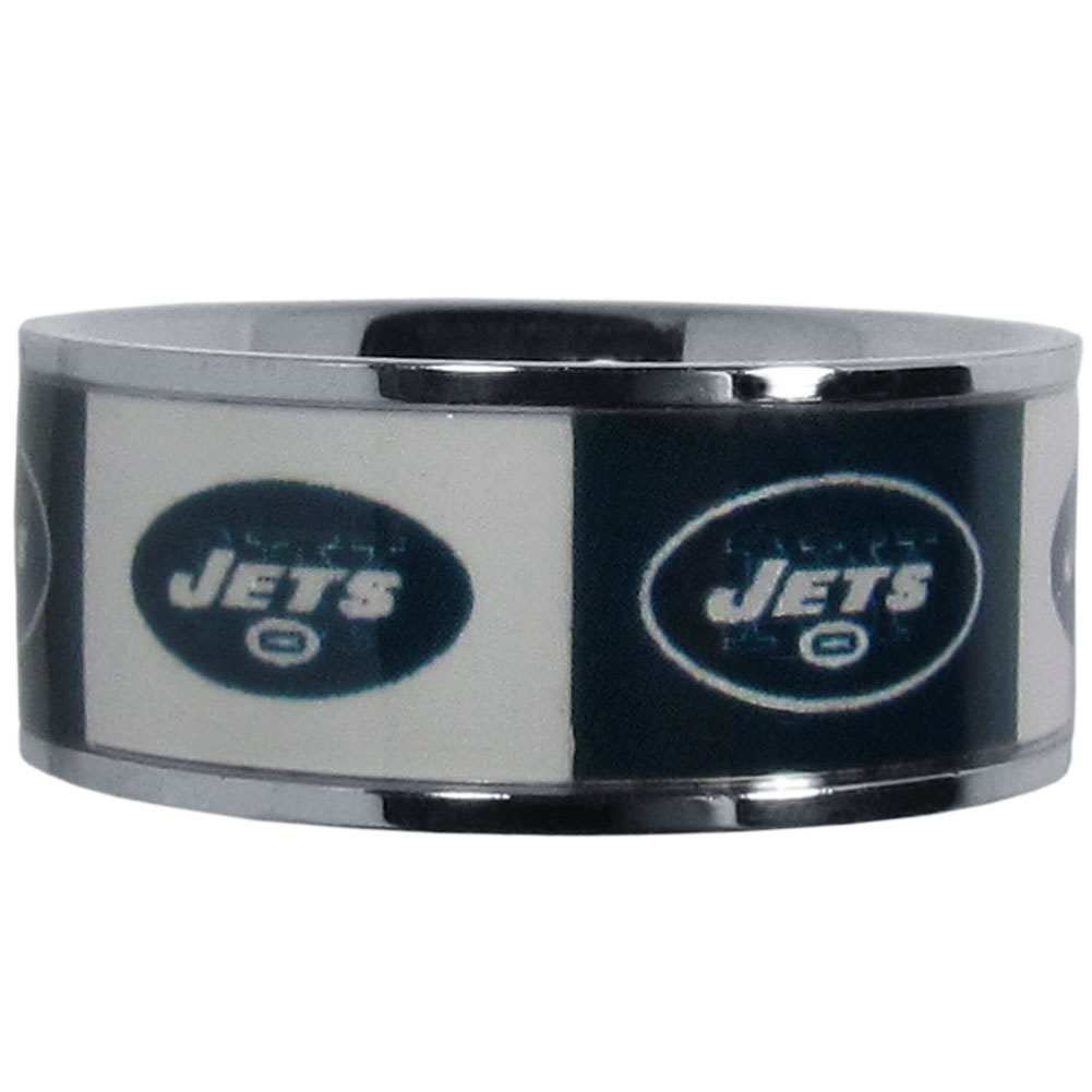 New York Jets Steel Inlaid Ring Size 10 - Our high-quality New York Jets stainless steel ring is a classy way to show off your team pride. The ring features crisp, inlaid team graphics.
