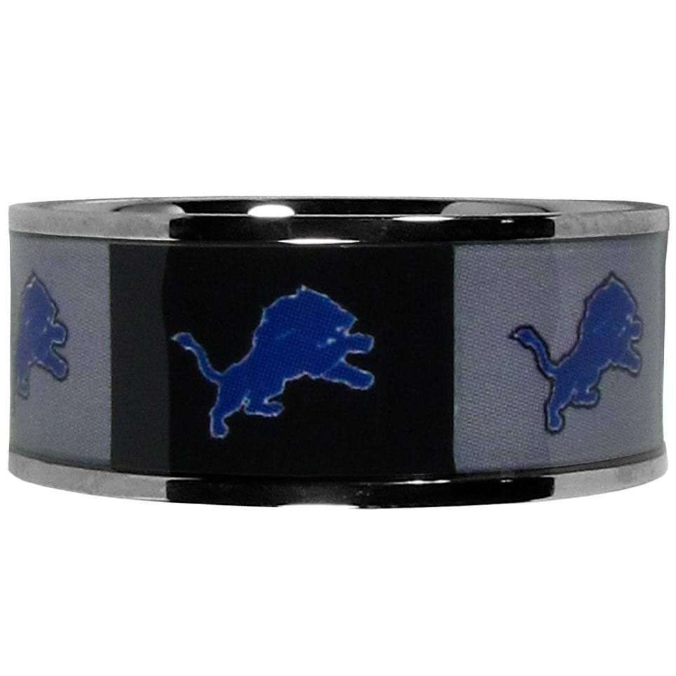 Detroit Lions Steel Inlaid Ring Size 12 - Our high-quality Detroit Lions stainless steel ring is a classy way to show off your team pride. The ring features crisp, inlaid team graphics.