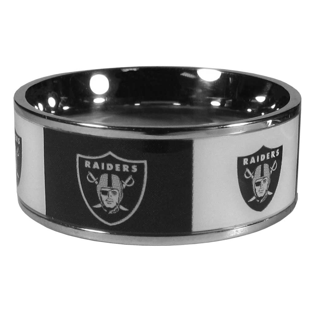 Oakland Raiders Steel Inlaid Ring Size 12 - Our high-quality Oakland Raiders stainless steel ring is a classy way to show off your team pride. The ring features crisp, inlaid team graphics.