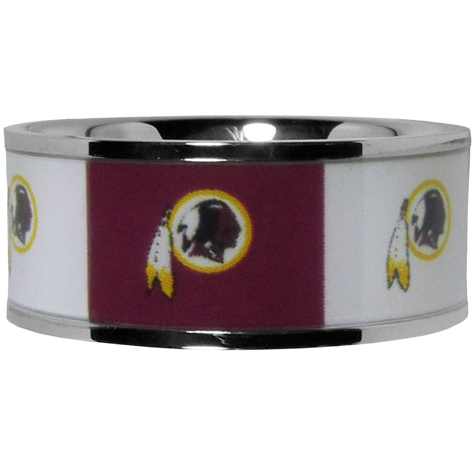 Washington Redskins Steel Inlaid Ring Size 12 - Our high-quality Washington Redskins stainless steel ring is a classy way to show off your team pride. The ring features crisp, inlaid team graphics.