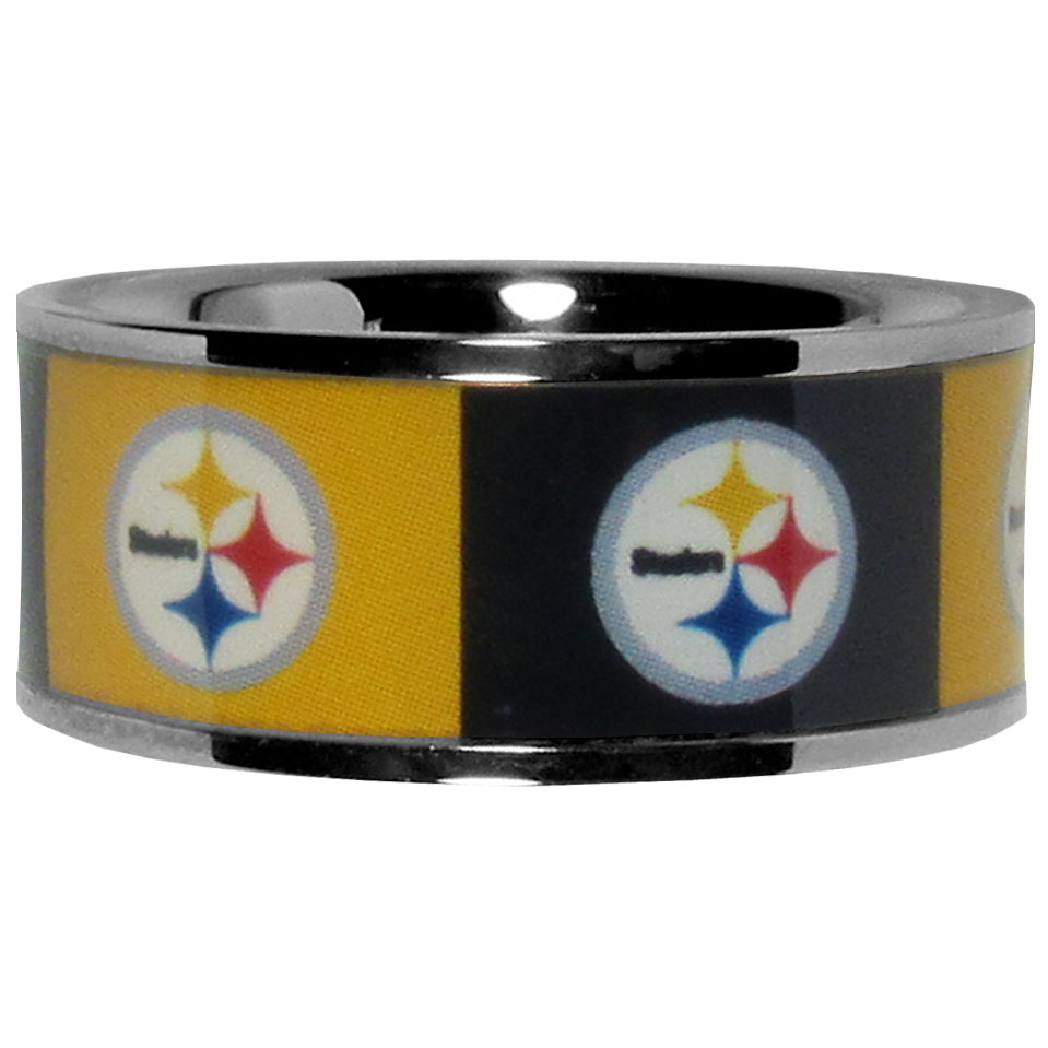 Pittsburgh Steelers Steel Inlaid Ring Size 12 - Our high-quality Pittsburgh Steelers stainless steel ring is a classy way to show off your team pride. The ring features crisp, inlaid team graphics.