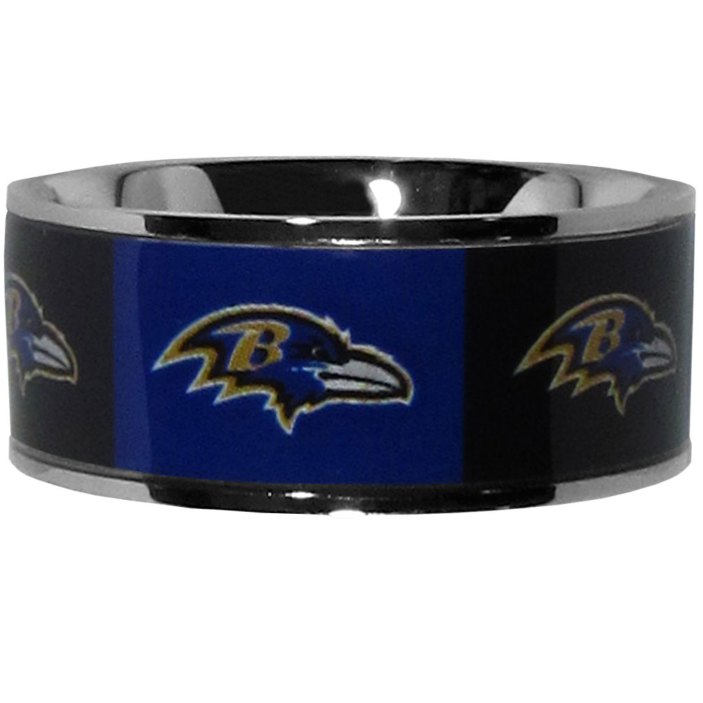 Baltimore Ravens Steel Inlaid Ring Size 10 - Our high-quality Baltimore Ravens stainless steel ring is a classy way to show off your team pride. The ring features crisp, inlaid team graphics.