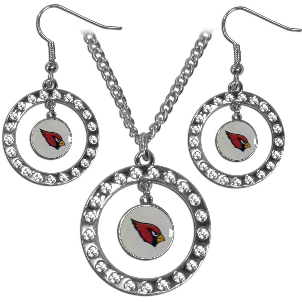 Arizona Cardinals Rhinestone Hoop Jewelry Set - This officially licensed Arizona Cardinals jewelry set includes our rhinestone hoop earrings and pendant in a gift box. The 1 inch rhinestone hoop pendant comes on an 18 inch chain and is paired with the matching dangle hoop earrings.