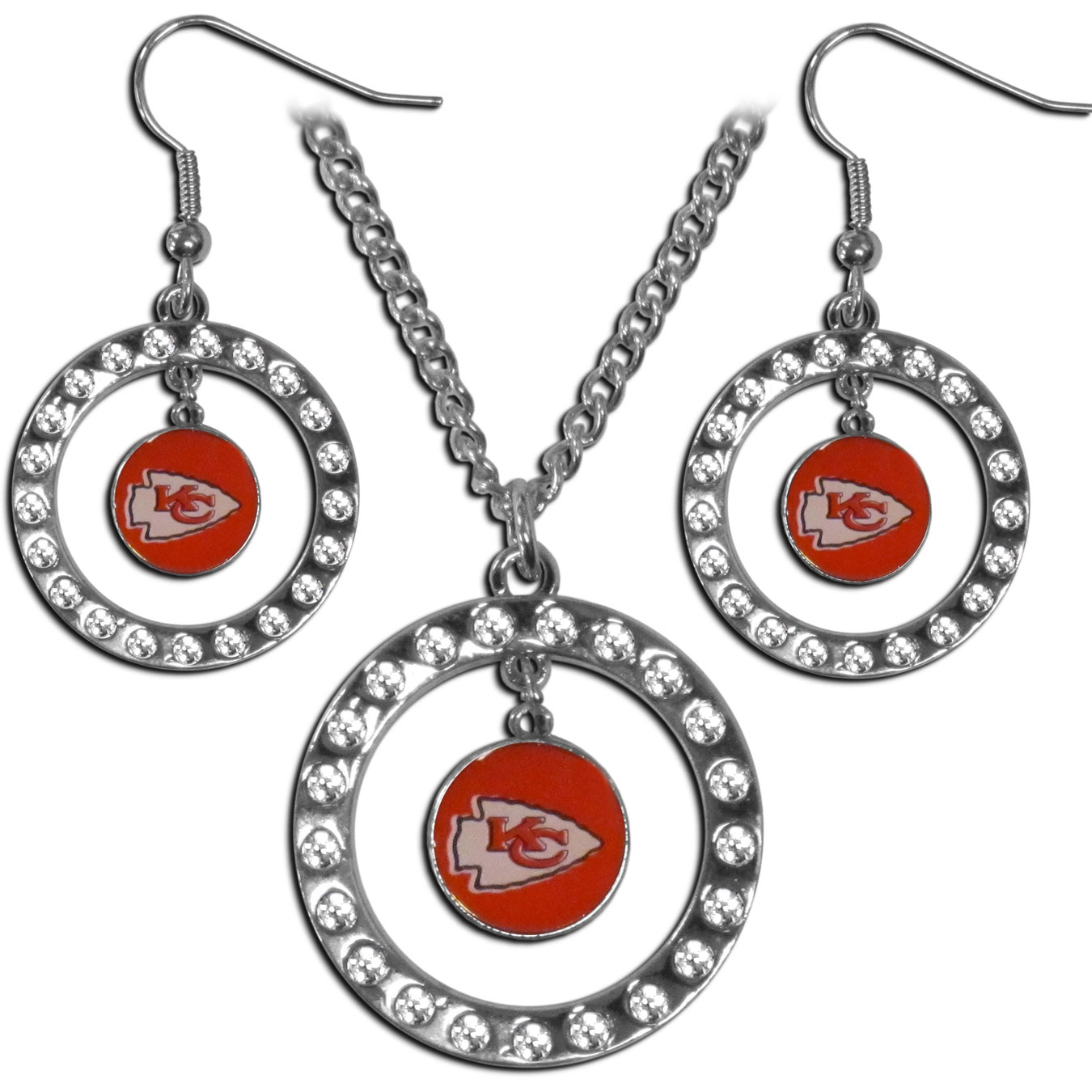 Kansas City Chiefs Rhinestone Hoop Jewelry Set - This officially licensed Kansas City Chiefs jewelry set includes our rhinestone hoop earrings and pendant in a gift box. The 1 inch rhinestone hoop pendant comes on an 18 inch chain and is paired with the matching dangle hoop earrings.