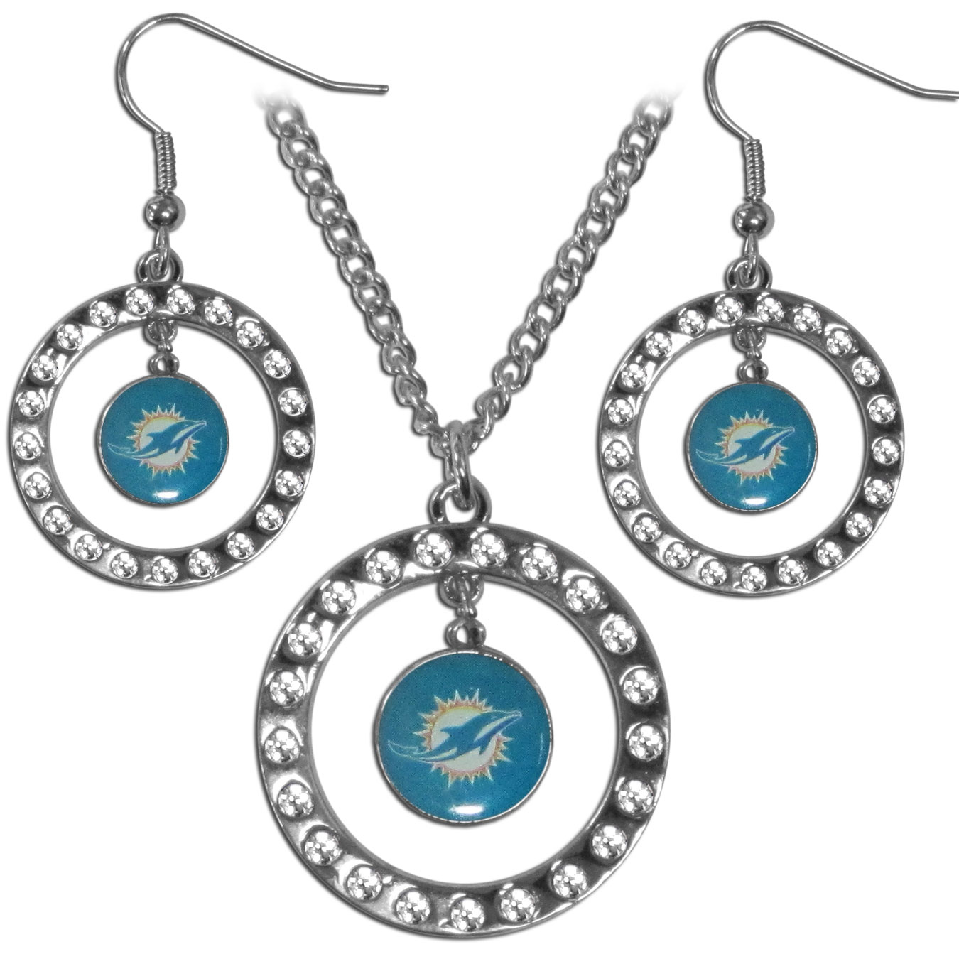 Miami Dolphins Rhinestone Hoop Jewelry Set - This officially licensed Miami Dolphins jewelry set includes our rhinestone hoop earrings and pendant in a gift box. The 1 inch rhinestone hoop pendant comes on an 18 inch chain and is paired with the matching dangle hoop earrings.