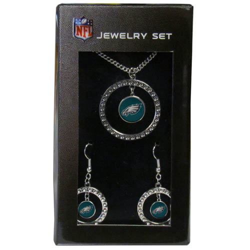 "Philadelphia Eagles Rhinestone Jewelry Set - This officially licensed NFL Philadelphia Eagles jewelry set includes our Philadelphia Eagles rhinestone hoop earrings and Philadelphia Eagles pendant in an NFL gift box. The 1"" Philadelphia Eagles rhinestone hoop pendant comes on an 18"" chain and is paired with the matching Philadelphia Eagles dangle hoop earrings. Officially licensed NFL product Licensee: Siskiyou Buckle .com"