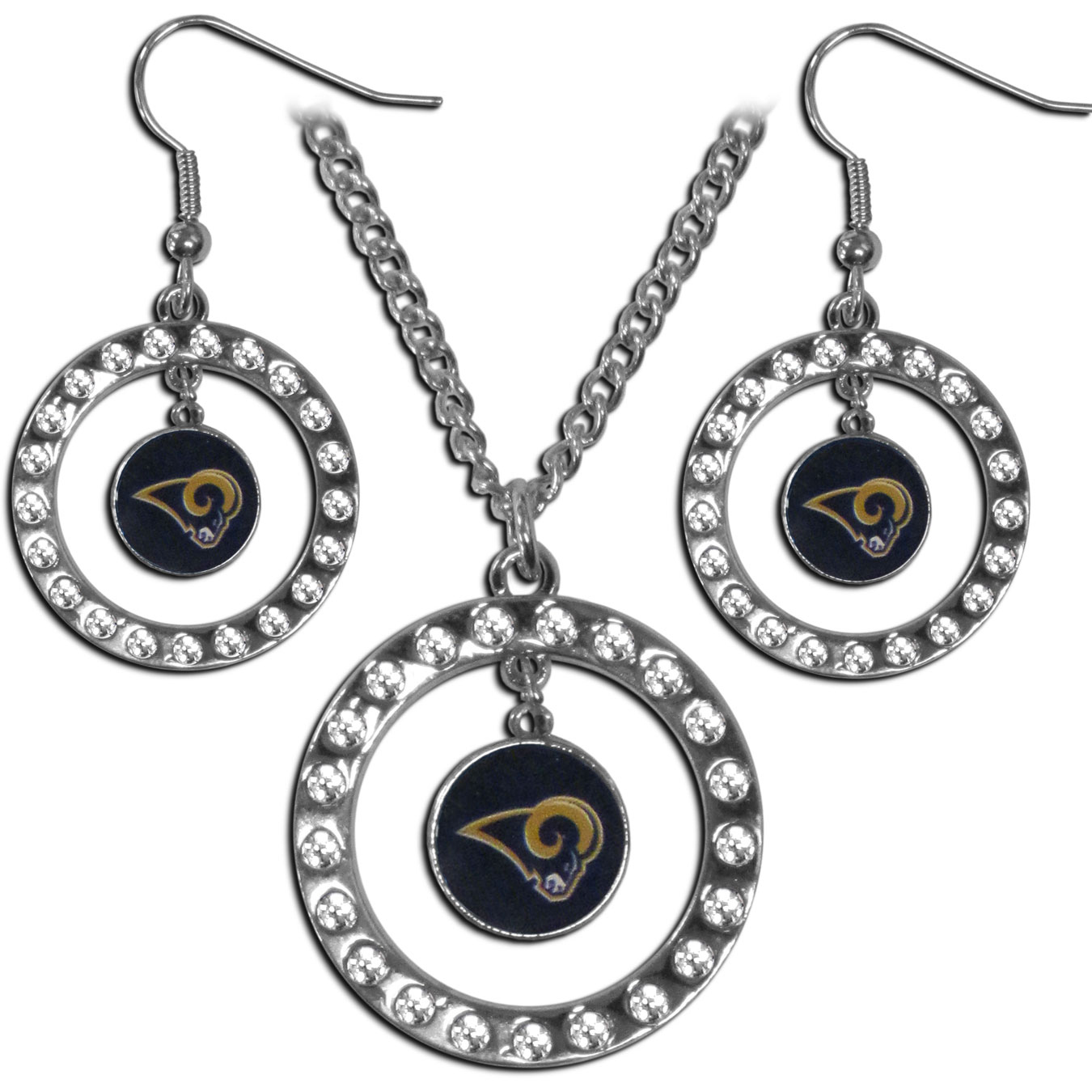 St. Louis Rams Rhinestone Hoop Jewelry Set - This officially licensed St. Louis Rams jewelry set includes our rhinestone hoop earrings and pendant in a gift box. The 1 inch rhinestone hoop pendant comes on an 18 inch chain and is paired with the matching dangle hoop earrings.