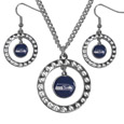 Seattle Seahawks Rhinestone Hoop Jewelry Set - This officially licensed Seattle Seahawks jewelry set includes our rhinestone hoop earrings and pendant in a gift box. The 1 inch rhinestone hoop pendant comes on an 18 inch chain and is paired with the matching dangle hoop earrings.
