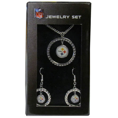 "Pittsburgh Steelers Rhinestone Jewelry Set - This officially licensed NFL Pittsburgh Steelers jewelry set includes our Pittsburgh Steelers rhinestone hoop earrings and Pittsburgh Steelers pendant in an NFL gift box. The 1"" Pittsburgh Steelers rhinestone hoop pendant comes on an 18"" chain and is paired with the matching Pittsburgh Steelers dangle hoop earrings. Officially licensed NFL product Licensee: Siskiyou Buckle .com"