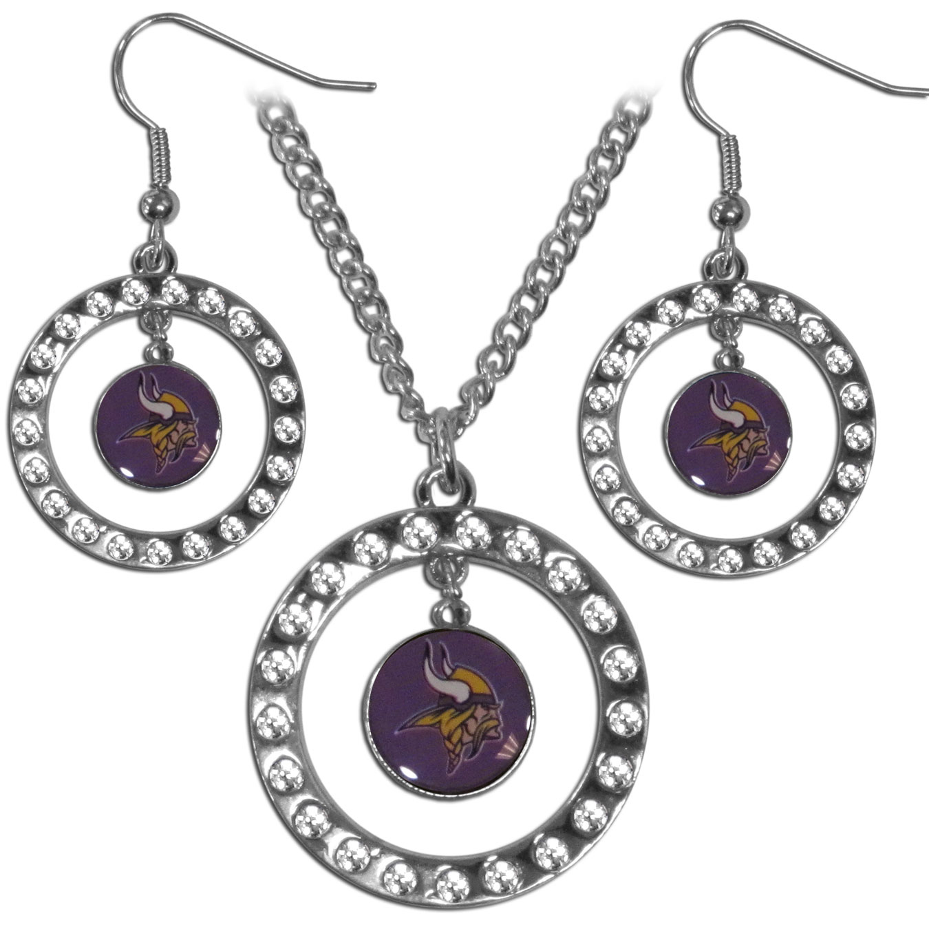 Minnesota Vikings Rhinestone Hoop Jewelry Set - This officially licensed Minnesota Vikings jewelry set includes our rhinestone hoop earrings and pendant in a gift box. The 1 inch rhinestone hoop pendant comes on an 18 inch chain and is paired with the matching dangle hoop earrings.