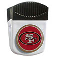 San Francisco 49ers Clip Magnet - Use this attractive NFL clip magnet to hold memos, photos or appointment cards on the fridge or take it down keep use it to clip bags shut. The magnet features a domed San Francisco 49ers logo. Officially licensed NFL product Licensee: Siskiyou Buckle .com