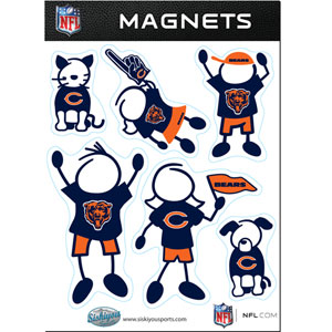 Chicago Bears Family Magnets - Our Chicago Bears family magnet set has father, mother, daughter, son, dog and cat all showing off their Chicago Bears pride! Officially licensed NFL product Licensee: Siskiyou Buckle .com