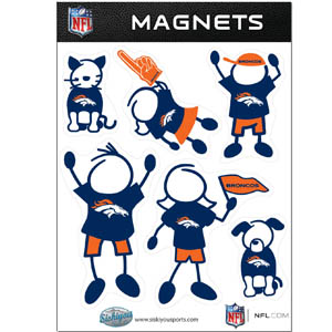 Denver Broncos Family Magnets - Our Denver Broncos family magnet set has father, mother, daughter, son, dog and cat all showing off their Denver Broncos pride! Officially licensed NFL product Licensee: Siskiyou Buckle Thank you for visiting CrazedOutSports.com