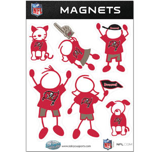 Tampa Bay Buccaneers Family Magnets - Our Tampa Bay Buccaneers family magnet set has father, mother, daughter, son, dog and cat all showing off their Tampa Bay Buccaneers pride! Officially licensed NFL product Licensee: Siskiyou Buckle .com