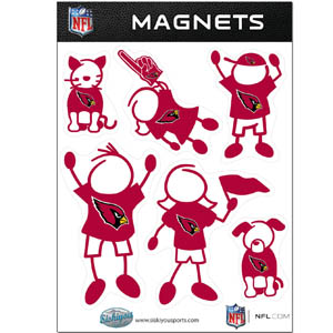 Arizona Cardinals Family Magnets - Our Arizona Cardinals family magnet set has father, mother, daughter, son, dog and cat all showing off their Arizona Cardinals pride! Officially licensed NFL product Licensee: Siskiyou Buckle .com