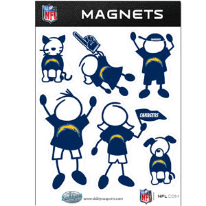 San Diego Chargers Family Magnets - Our San Diego Chargers family magnet set has father, mother, daughter, son, dog and cat all showing off their San Diego Chargers pride! Officially licensed NFL product Licensee: Siskiyou Buckle .com