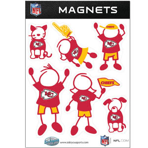 Kansas City Chiefs Family Magnets - Our Kansas City Chiefs family magnet set has father, mother, daughter, son, dog and cat all showing off their Kansas City Chiefs pride! Officially licensed NFL product Licensee: Siskiyou Buckle Thank you for visiting CrazedOutSports.com