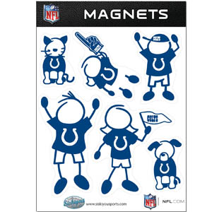 Indianapolis Colts Family Magnets - Our Indianapolis Colts family magnet set has father, mother, daughter, son, dog and cat all showing off their Indianapolis Colts pride! Officially licensed NFL product Licensee: Siskiyou Buckle Thank you for visiting CrazedOutSports.com