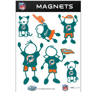 Miami Dolphins Family Magnets - Our Miami Dolphins family magnet set has father, mother, daughter, son, dog and cat all showing off their Miami Dolphins pride! Officially licensed NFL product Licensee: Siskiyou Buckle .com