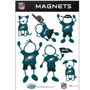 Philadelphia Eagles Family Magnets - Our Philadelphia Eagles family magnet set has father, mother, daughter, son, dog and cat all showing off their Philadelphia Eagles pride! Officially licensed NFL product Licensee: Siskiyou Buckle .com